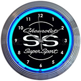 Chevrolet Ss Super Sport Blue Neon Clock