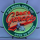 Dad's Garage Neon Sign With Backing