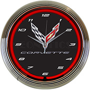 Corvette C8 Next Generation Neon Clock