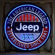 Jeep Round Neon Sign In 36 inches Steel Can