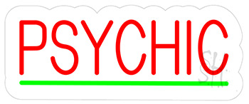 Psychic Green Line Contoured Clear Backing Neon Sign