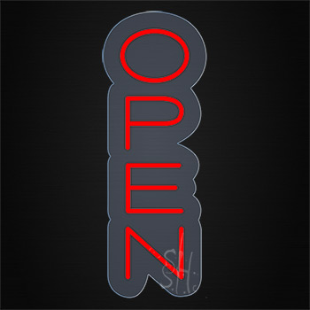 Open Contoured Clear Backing Neon Sign