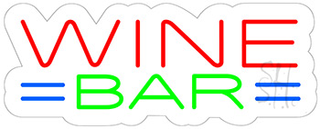 Wine Bar Contoured Clear Backing Neon Sign