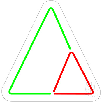 Triangles Contoured Clear Backing Neon Sign