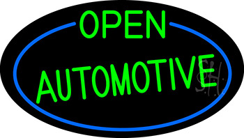 Green Open Automotive Oval With Blue Border Neon Sign