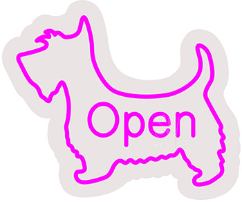 Scottish Terrier Dog Contoured Clear Backing Neon Sign