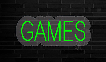 Green Games Contoured Clear Backing Neon Sign
