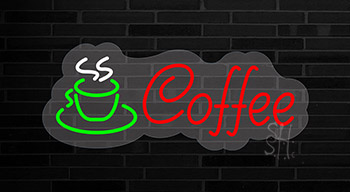 Red Cursive Coffee Logo Contoured Clear Backing Neon Sign