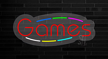 Multicolored Deco Style Games Contoured Clear Backing Neon Sign