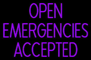 Open Emergencies Accepted Neon Sign