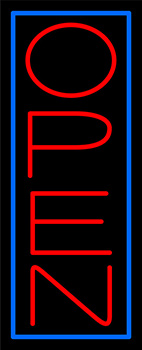 Blue Border With Red Vertical Open Neon Sign
