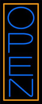 Orange Border With Blue Vertical Open Neon Sign
