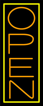 Orange Open With Yellow Border Vertical Neon Sign