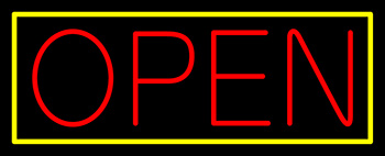 Red Open With Yellow Border Neon Sign