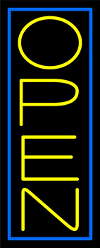 Yellow Open With Blue Border Vertical Neon Sign