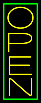 Yellow Open With Green Border Vertical Neon Sign
