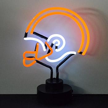 Helmet Orange and White Neon Sculpture
