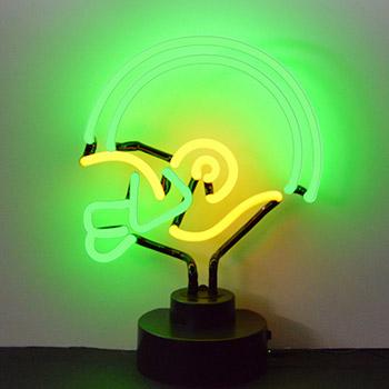 Helmet Yellow and Green Neon Sculpture
