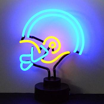 BlueYellow Football Helmet Neon Sculpture