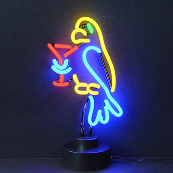 Parrot with Martini Neon Sculpture