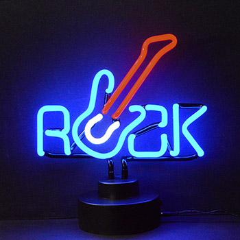 Rock with Guitar Neon Sculpture