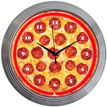 Pizza Neon Clock