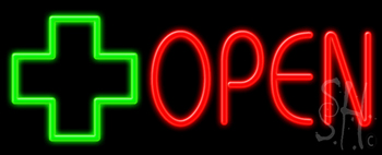 Open With Cross Logo Neon Sign