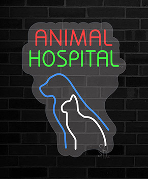 Animal Hospital Contoured Clear Backing Neon Sign