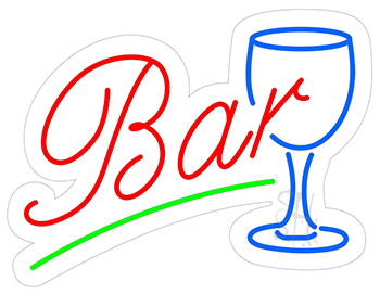 Bar with Glass Contoured Clear Backing Neon Sign