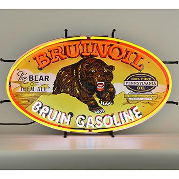 Gas - Bruinoil Bruin Gasoline Neon Sign