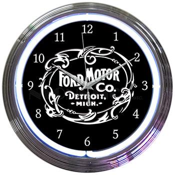 Ford Motor Company 1903 Heritage Emblem Neon Clock