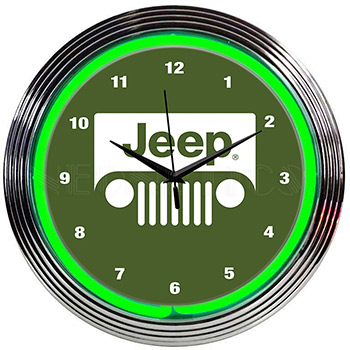 Jeep Green Neon Clock