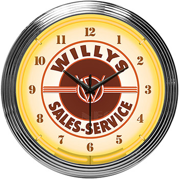 Jeep Willys Sales Service Neon Clock