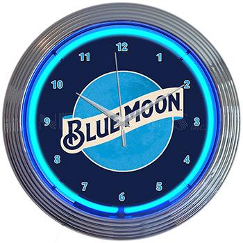 Blue Moon Beer Neon Clock