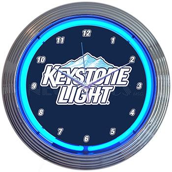 Keystone Light Beer Neon Clock