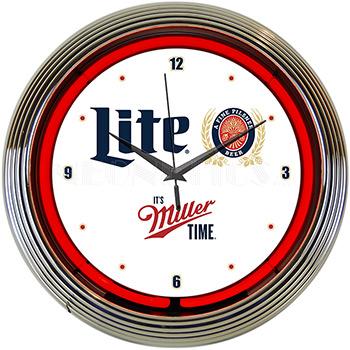 Miller Lite Beer Its Miller Time Neon Clock
