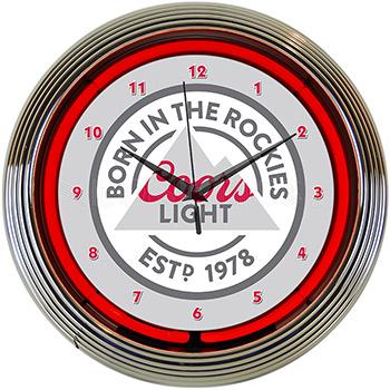 Coors Light Beer Born In The Rockies Neon Clock