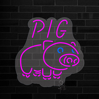 Pig Logo Contoured Clear Backing Neon Sign