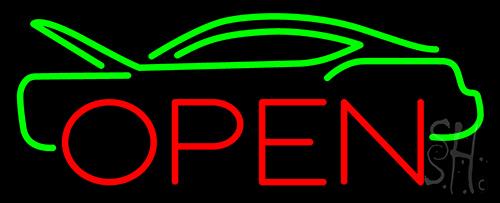 Green Car Open Neon Sign
