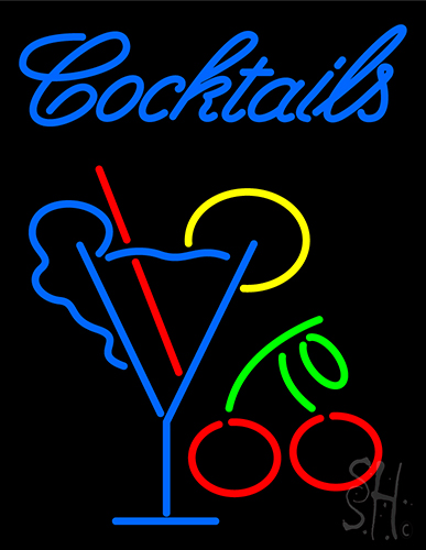 Cocktail With Martini Glass Neon Sign