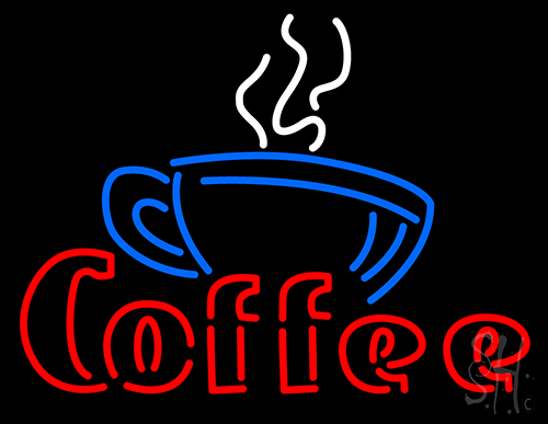 Coffee With Cup Cafe Signneon Sign