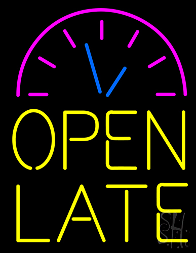 Clock Open Late Neon Sign
