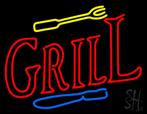 Grill With Fork And Knife Neon Sign
