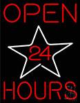 Open 24 Hours Star Neon Sign