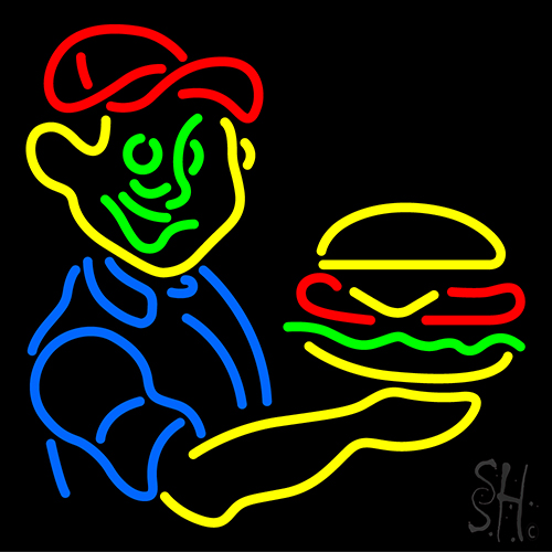 Burger Boy With Burger Neon Sign
