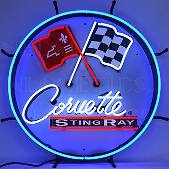 Corvette C2 Stingray Round Neon Sign With Backing