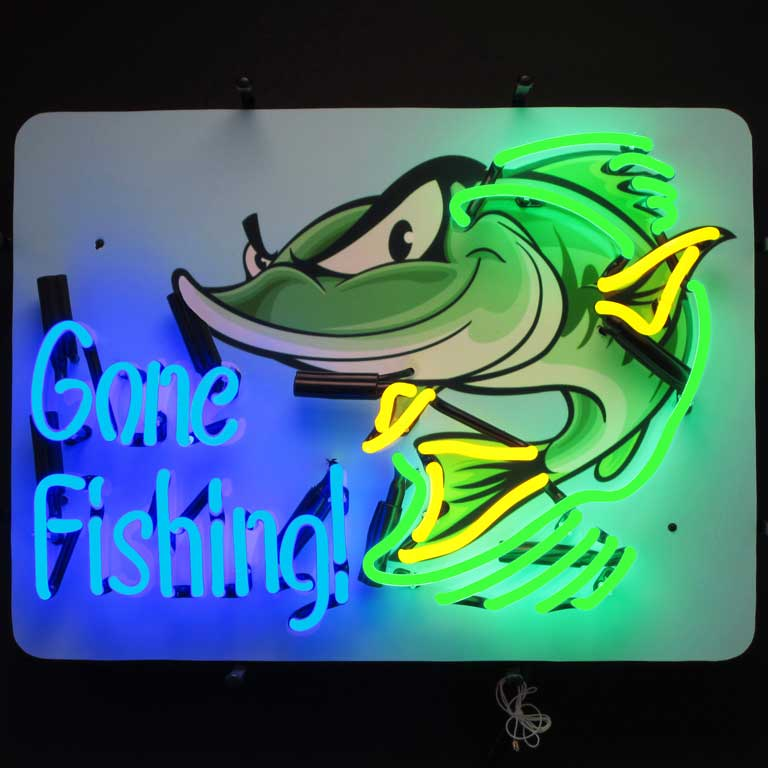Gone Fishing Neon Sign