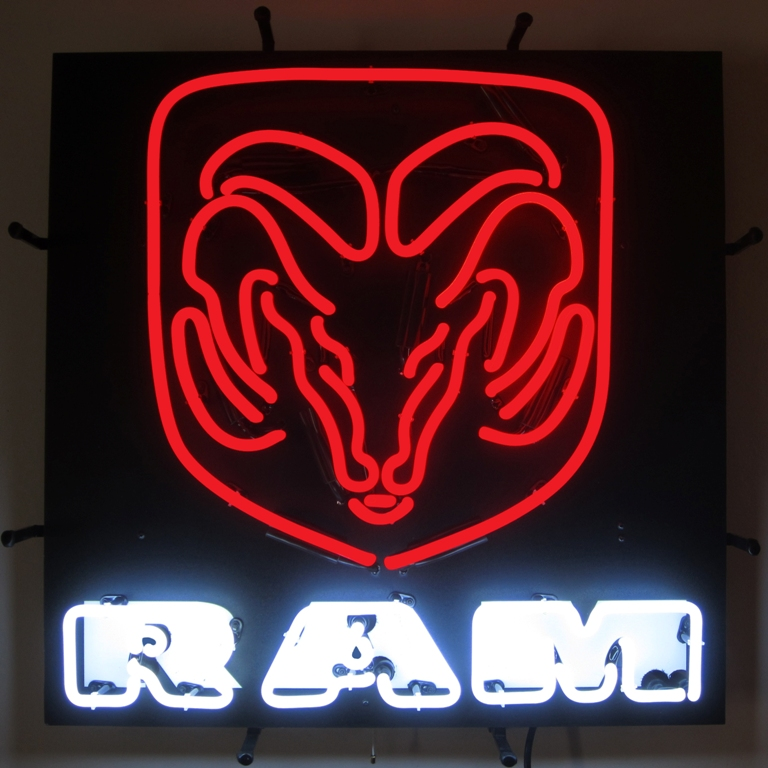 Ram Red Neon Sign with Backing