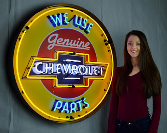 Large Chevy Parts Neon Sign W/ Backing in Crate
