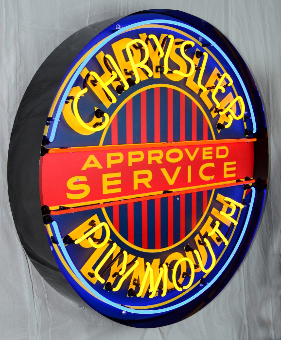 Large Chrysler/plymouth Neon Sign W/ Backing in Crate